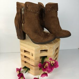 Not Rated Laser Cut Heeled Booties Size 8 Brown